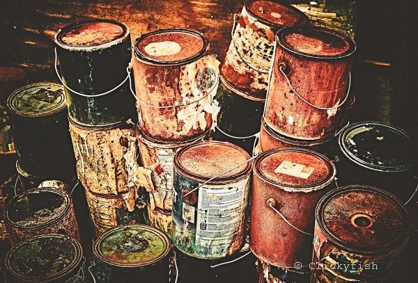 Rusted paint cans